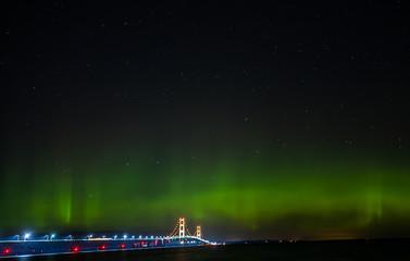 Mackinaw Bridge - aurora borealis - Northern Lights