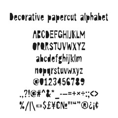 Cutout decorative alphabet. Papercut vector abc. Hand made font.