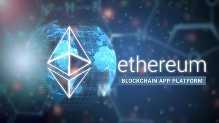 Ethereum decentralized platform that runs smart contracts, blockchain technology illustration background