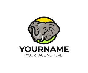 Elephant with raised trunk in circle logo template. Huge animal and head of elephant vector design. Wildlife and nature illustration