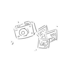 カメラと写真の線画、下絵、ラフ、塗り絵ゆるいイラスト