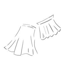 ロングスカート、ミニスカート。ファッションの線画、下絵、ラフ、塗り絵ゆるいイラスト