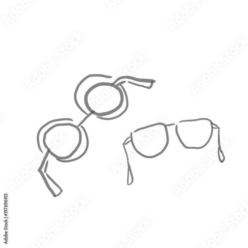 サングラス眼鏡ファッション小物の線画下絵ラフ塗り絵ゆるい