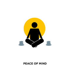peace of mind  icon on white background, in black and yellow, a man meditating, vector icon illustration