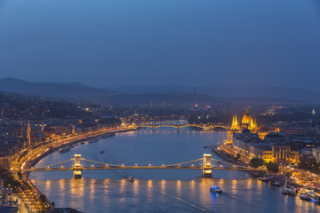 Hungary, Budapest, Buda and Pest, Danube river, Chain bridge, Elisabeth Bridge and Parliament building, blue hour