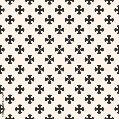 Simple Floral Pattern Vector Geometric Seamless Texture With Small Cross Shapes Gothic
