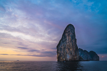 Thailand, Phi Phi Islands, Ko Phi Phi, island in the sea at sunset