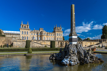 Exterior of Blenheim palace in Oxfordshire, UK
