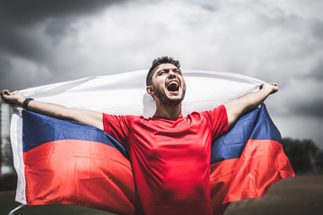 Russian fan celebrating