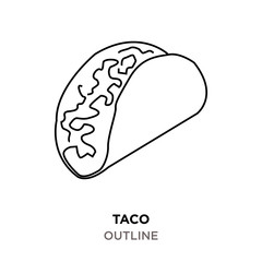 taco outline on white background