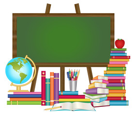 Education background- School chalkboard with books, globe, tin of pencils and apple vector