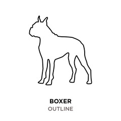 boxer outline on white background