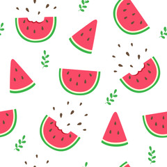 Watermelon slices seamless pattern on white background