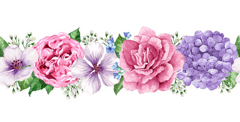 Seamless Floral background in watercolor style isolated on white.
