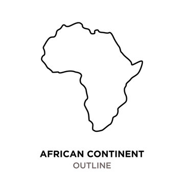 african continent outline on white background