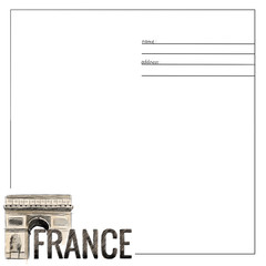 card with the inscription France in the lower left corner in a quick careless style by hand with the image of the sights Arc de Triomphe in Paris color vector drawing