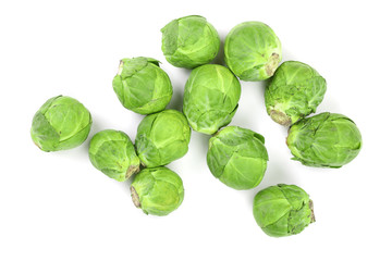 Acrylic Prints Brussels Brussels sprouts isolated on white background closeup. Top view. Flat lay