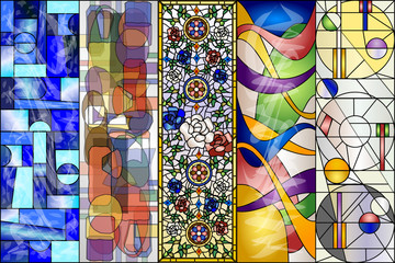 Stained Glass Abstract Vintage and Modern Designs Vector Kit