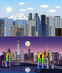Tokyo, Japan, Asia - Day to Night Vector Kit