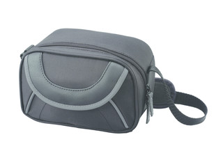 Camera bag with black fabric material is isolated on white background.