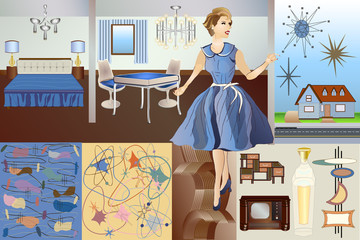 Mid Century Mod - Backgrounds Objects Furniture Character & Elements