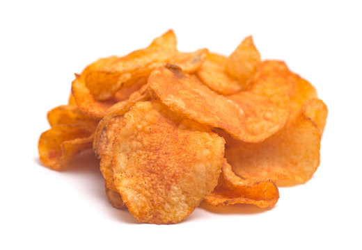 BBQ Kettle Potato Chips on a White Background