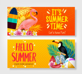 Hello Summer and It's Summer Time Creative Banners in Isolated Background. Vector Illustration