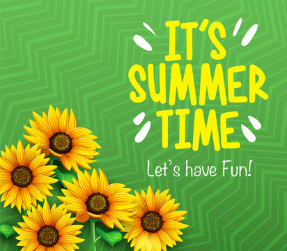 It's Summer Time Let's Have Fun Poster with 3D Sunflowers in Green Gradient Background with Pattern. Vector Illustration