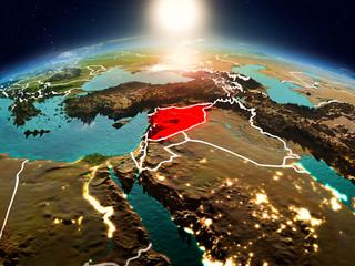 Syria in sunrise from orbit