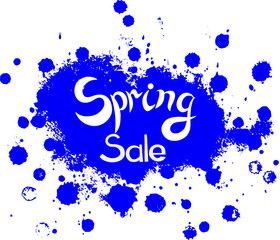 Message Spring sale. Hand lettring Spring sale on blue bloth background. It is a hand drawn. Lettering on banner, logo, flayer, label, icon, badge, sticker. Vector illustration EPS 10