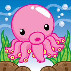 Squid cartoon, cute vector