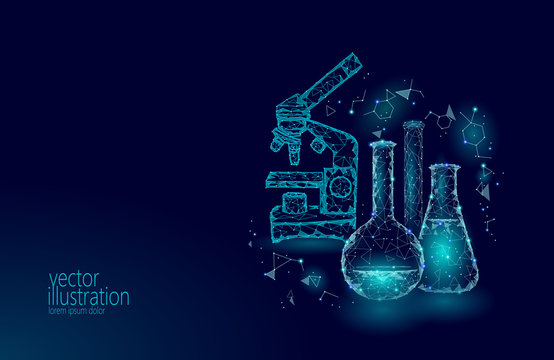 Low poly science chemical glass flasks. Magical equipment microscope zoom lens polygonal triangle blue glowing research future technology business medicine concept vector illustration