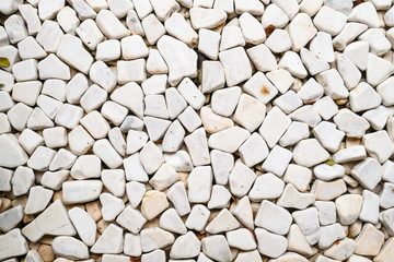 Little white stones carpet, stones close up and background