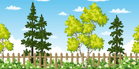Wall Mural - Seamless summer landscape with trees