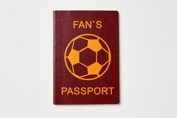 One abstract fan passport on white table