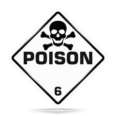 International Poison Class 6 Symbol,White Warning Dangerous icon on white background, Attracting attention Security First sign, Idea for,graphic,web design,Vector and illustration,EPS10.