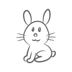 Rabbit outline. Bunny silhouette. Hand drawn hare. Catholic easter symbol. Vector icon.
