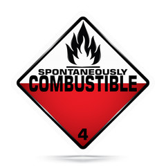 International Spontaneously Combustible Class 4 Symbol,White and red Warning Dangerous icon on white background, Attracting attention Security First sign, Idea for,graphic,web design,Vector,EPS10.