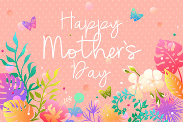 Mother's day greeting card with colorful tropical leaves and flowers. Vector illustration