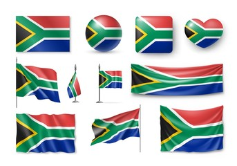 Set South Africa flags, banners, banners, symbols, flat icon. Vector illustration of collection of national symbols on various objects and state signs