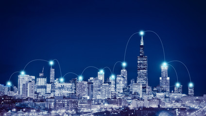 Network connection and global business  concept in Chicago City, Illinois, USA