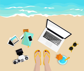 Freelance work. Mobile, notebook, camera, pictures and credit cards. Girl's legs on the beach. Top view. Hand drawn vector illustration. Freelancer life. Work and rest.