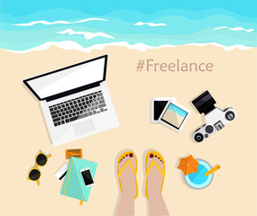 Freelance. Desktop with mobile, notebook, camera, pictures and credit cards. Girl's legs on the beach . Top view. Hand drawn vector illustration. Freelancer life.  Work and rest.