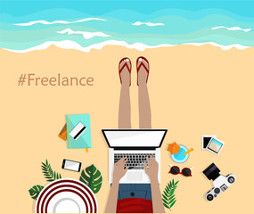 Freelance concept. Summer background. with girl laying on the beach and typing on laptop. Top view. Hand drawn vector illustration. Freelancer.  Mobile, notebook, camera, pictures and credit cards.