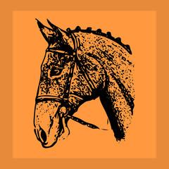 Black ornate-silhouette stallion. Head in orange frame,