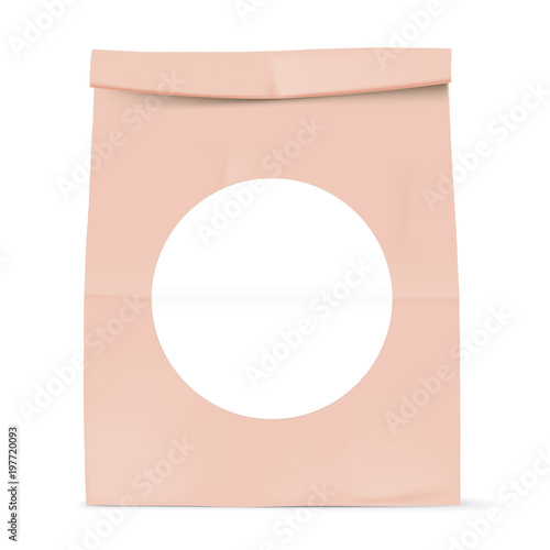 Brown Paper Bag Isolated On Background Grocery Kraft With White Round Sticker Template