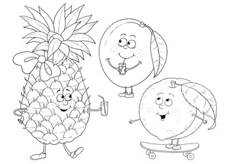 Funny fruits. Pineapple, mango, peach. Coloring page. Coloring book. Cute cartoon characters isolated on white background.