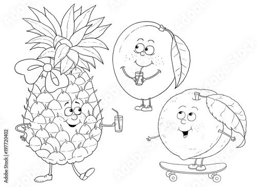 """Funny Fruits. Pineapple, Mango, Peach. Coloring Page"