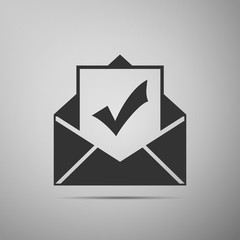 Envelope with document and check mark icon isolated on grey background. Successful e-mail delivery, email delivery confirmation, successful verification concepts. Flat design. Vector Illustration