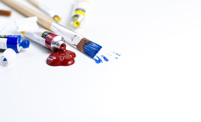 closeup paint brushes header on white background